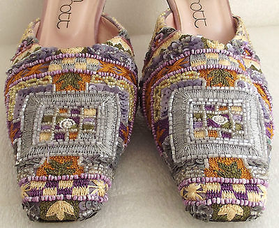Ladies beaded evening shoes size 6 KEITH SCARROTT Spanish Leather sole Open back